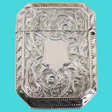 Small English Victorian Chased Sterling Silver Vesta Case