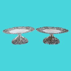 Pair of American Victorian Howard & Company Sterling Silver Reticulated Compotes