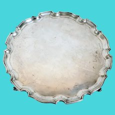 English Georgian S. G. Jacobs Chippendale Style Sterling Silver Salver Tray