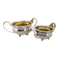 English George III Thomas Wallis & Jonathan Hayne Gilt Sterling Silver Creamer and Open Sugar