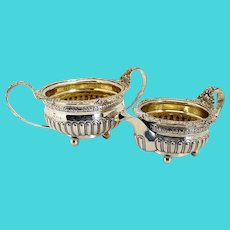 English George III Thomas Wallis & Jonathan Hayne Gilt Sterling Silver Creamer and Open Sugar