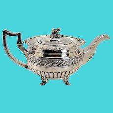 Irish George III James Scott Sterling Silver Acorn Finial Armorial Teapot