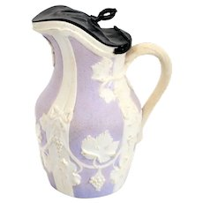 English Samuel Alcock Pewter Mounted Lilac Parian Ware Pottery Pitcher / Jug