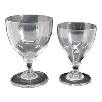 Two English Georgian Clear Glass Rummer Drinking Glasses