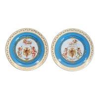 Pair of French Sevres Gilt and Bleu Celeste Porcelain Royal Armorial Plates