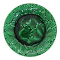 French Regal and Sanejouand Green Cabbage Leaf Faience (Majolica) Plate
