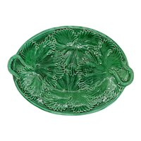 French Regal and Sanejouand Green Majolica Cabbage Leaf Oval Platter