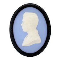 English Wedgwood Jasperware Pale Blue Portrait Plaque, Edward VIII, Prince of Wales