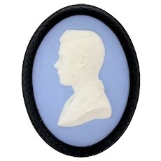 English Wedgwood Jasperware Pale Blue Portrait Plaque, Edward VIII, Prince of Wales