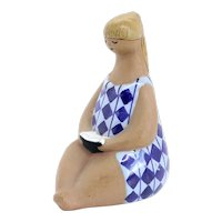 Swedish Lisa Larson for Gustavsberg Stoneware Pottery Figure, Amalia ABC-Girl