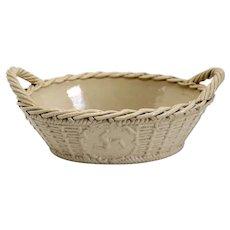 Unusual British Georgian Drabware Pottery Ellan Vannin (Isle of Man) Basket Bowl