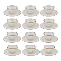 Set of 12 Continental Intaglio Engraved Parcel Gilt Glass Finger Bowls with Underplates