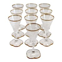 Set of 10 Continental Intaglio Engraved Parcel Gilt Glass Cordial Glasses