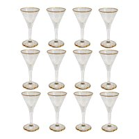 Set of 12  Continental Intaglio Engraved Parcel Gilt Glass Aperitif Glasses
