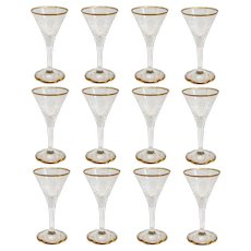 Set of 12 Moser Intaglio Engraved Parcel Gilt Glass Aperitif Glasses