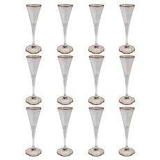 Set of 12 Moser Intaglio Engraved Parcel Gilt Glass Champagne Flute Glasses