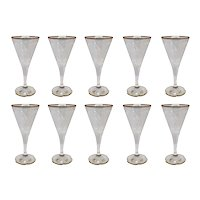 Set of 10 Continental Intaglio Engraved Parcel Gilt Glass Wine / Water Goblets