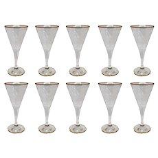 Set of 10 Moser Intaglio Engraved Parcel Gilt Glass Wine / Water Goblets