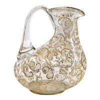 Continental Gilt Blown Glass Wine Jug Carafe