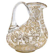 Continental Gilt Blown Glass Wine Jug Carafe
