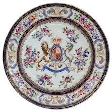 French Samson Chinese Export Style Porcelain Armorial Plate