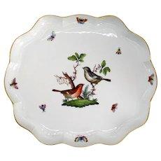 Vintage Hungarian Herend Handpainted Porcelain Rothschild Bird Serpentine Platter