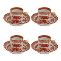 Ten-Piece Set of Chinese Export Iron Red Porcelain Fitzhugh Tea Cups and Saucers