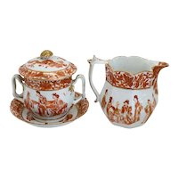 Chinese Export Iron Red and Gilt Porcelain Cream Jug, Sugar and Underplate