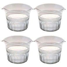 Four Anglo-Irish Georgian Cut Glass Double-Lip Wine Rinsers