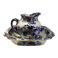 English Doulton Burslem Ironstone Pottery Nankin Wash Bowl and Ewer / Pitcher