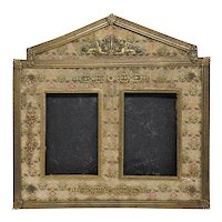 French/Italian Empire Style Gilt Bronze and Fabric Double Desk Frame