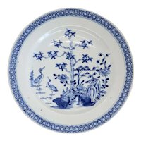 Chinese Export Qianlong Porcelain Blue and White Plate