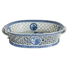 Chinese Export Blue and White Porcelain Reticulated Basket