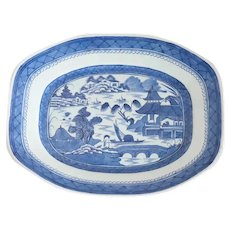 Large Chinese Export Canton Porcelain Blue and White Platter