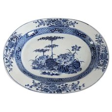 Chinese Export Porcelain Blue and White Bamboo and Floral Platter