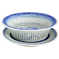 Chinese Export Canton Blue and White Porcelain Reticulated Chestnut Basket and Underplate