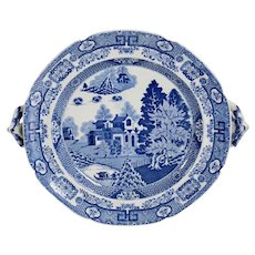 English Spode Blue and White Transferware Forest Landscape Hot Water Plate