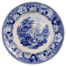 Welsh Dillwyn Swansea Blue and White Transferware Pottery Cows Crossing a Stream Bowl