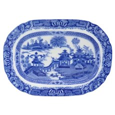 Scarce English Job Ridgway Transferware Pottery Blue and White Curling Palms Oval Platter