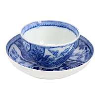 English Pearlware Transferware Blue and White Tea Bowl and Saucer