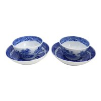 Pair of English Blue and White Transferware Porcelain Two Temples Tea Bowls and Saucers