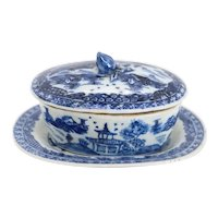 Small Chinese Export Canton Porcelain Blue and White Covered Oval Dish and Underplate