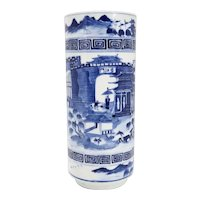 Chinese Qing Blue and White Porcelain Harbor Scene Hat Stand