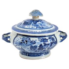 Chinese Export Canton Porcelain Blue and White Oval Covered Sauce Tureen