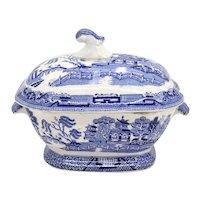 English Staffordshire Creamware Pottery Blue Willow Transferware Sauce Tureen