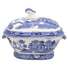 English Staffordshire Creamware Pottery Blue Willow Transferware Sauce Tureen