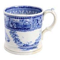 English Staffordshire Blue and White Pottery Transferware Mug