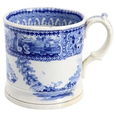 English Staffordshire Blue and White Pottery Transferware Mug