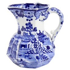 Small English Mason's Ironstone China Blue and White Transferware Pitcher