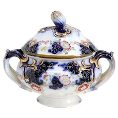 Small English Minton Imari Style Flow Blue Porcelain Hand Painted Sauce Tureen